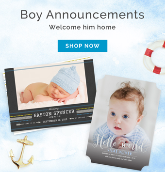 Baby Boy Photo Birth Announcements